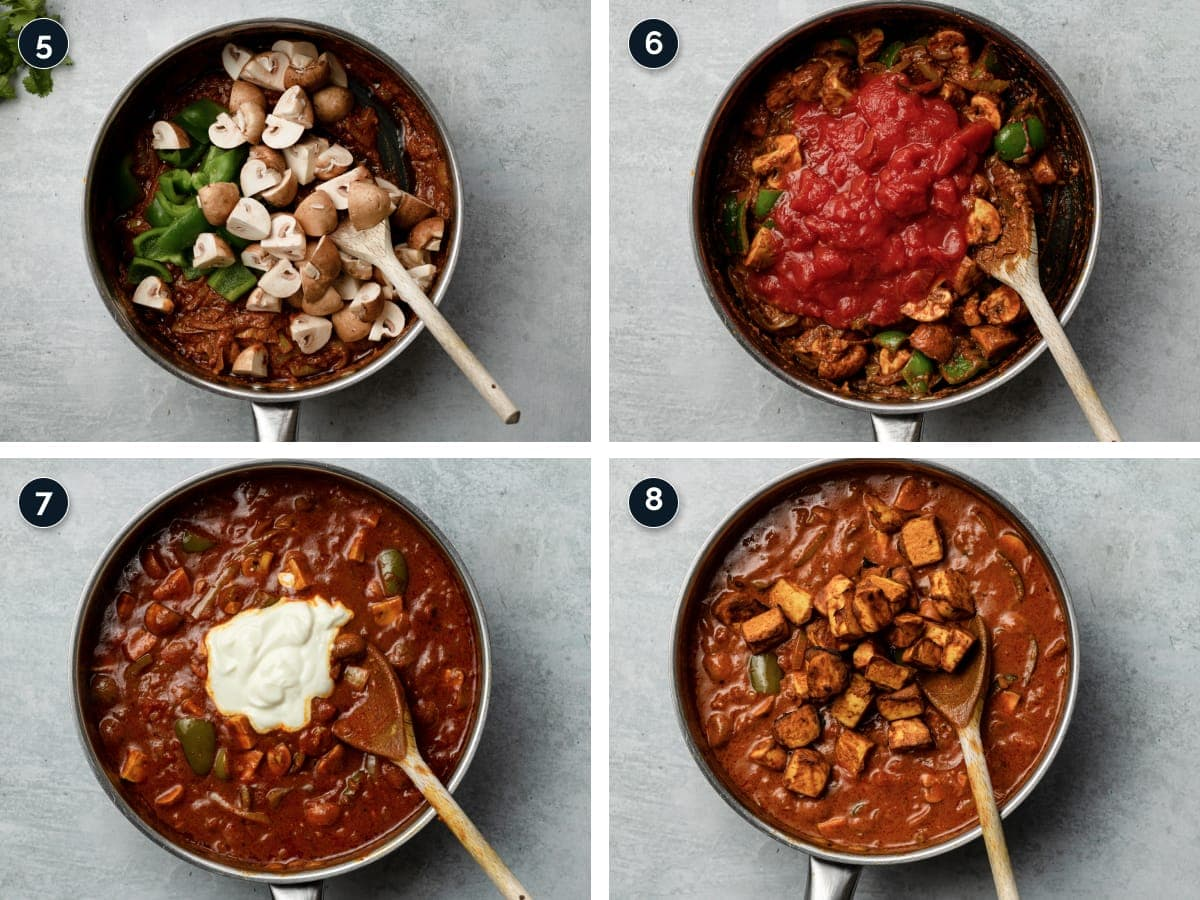 Step by step process for making Tofu tikka masala