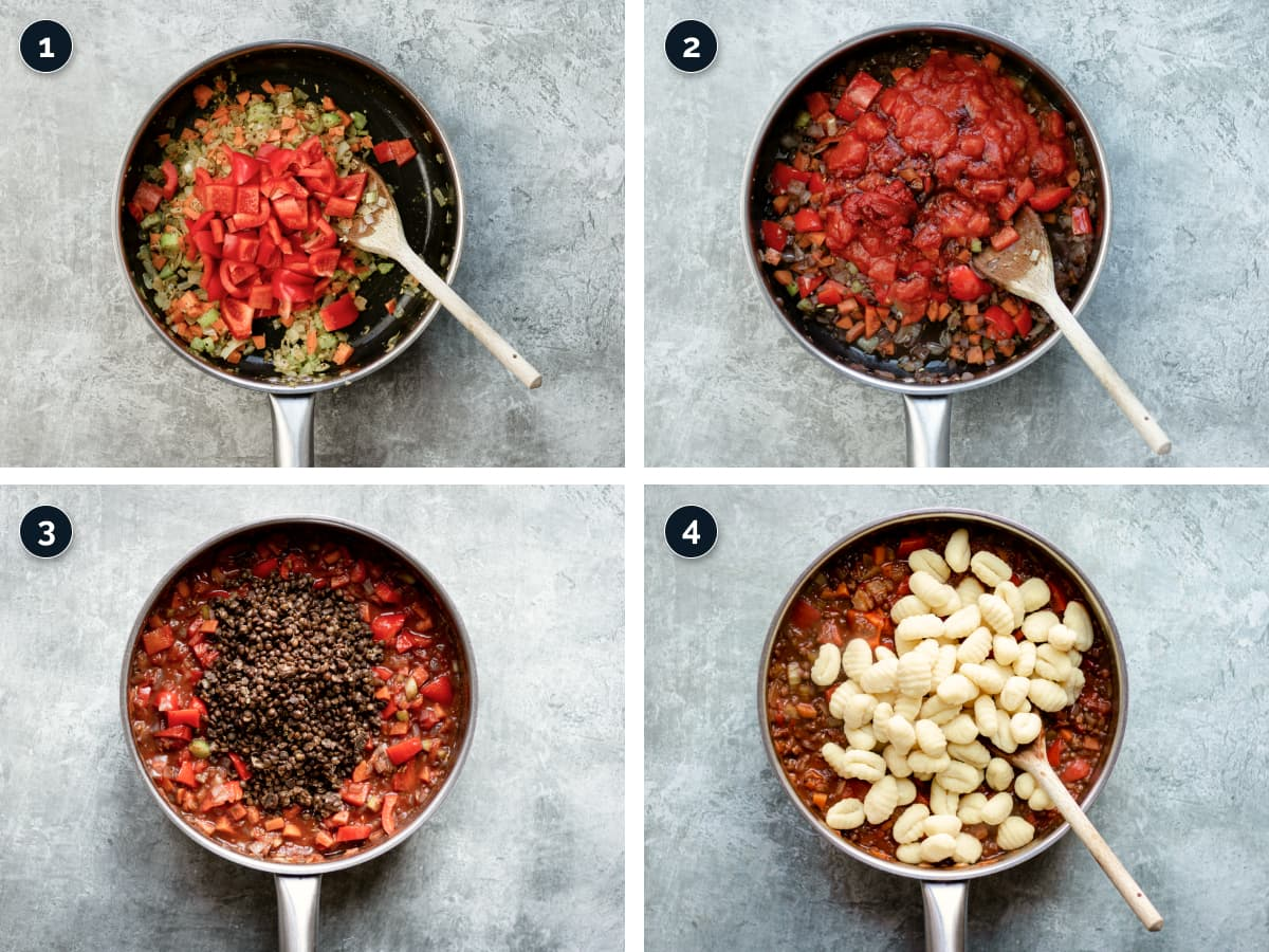 Step by step process for making Veggie Gnocchi Bolognese Bake