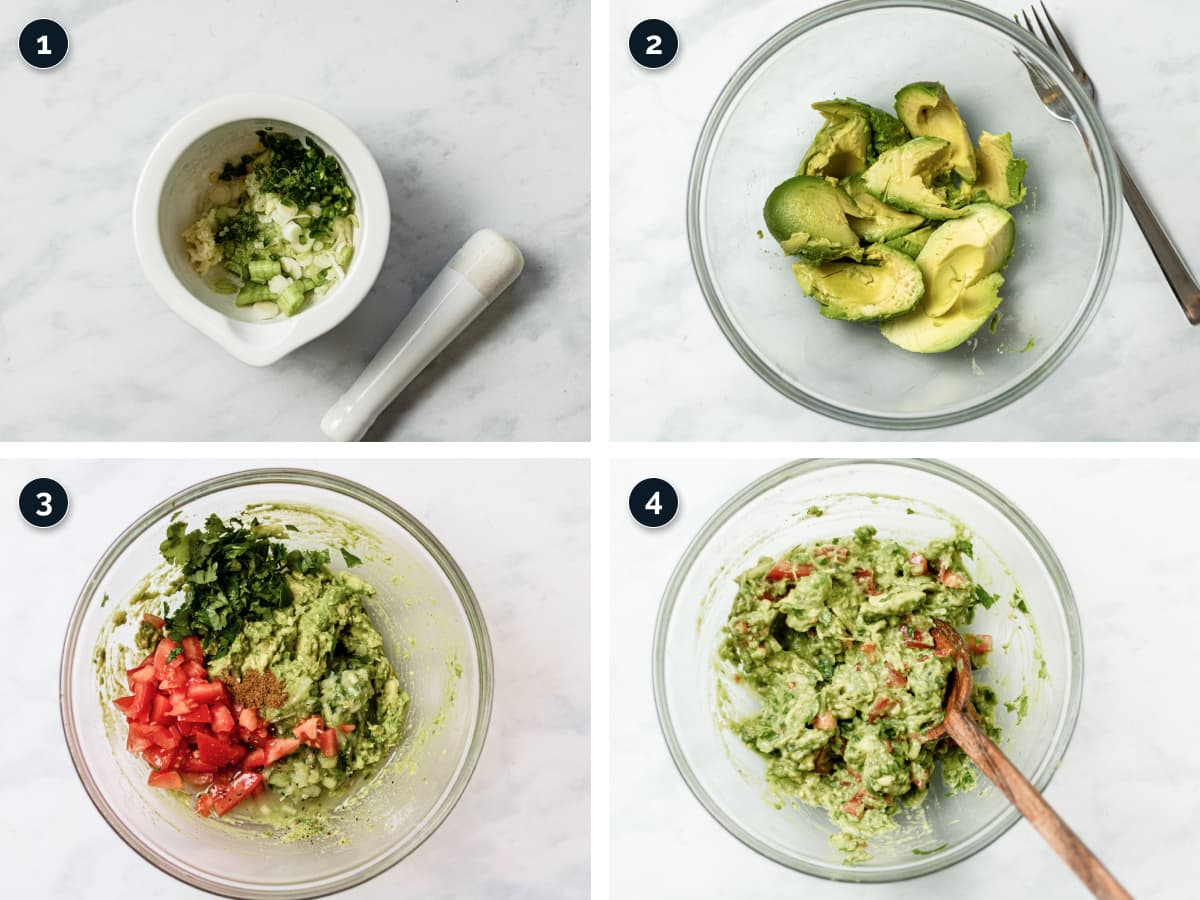 Step by step process for making Homemade Guacamole