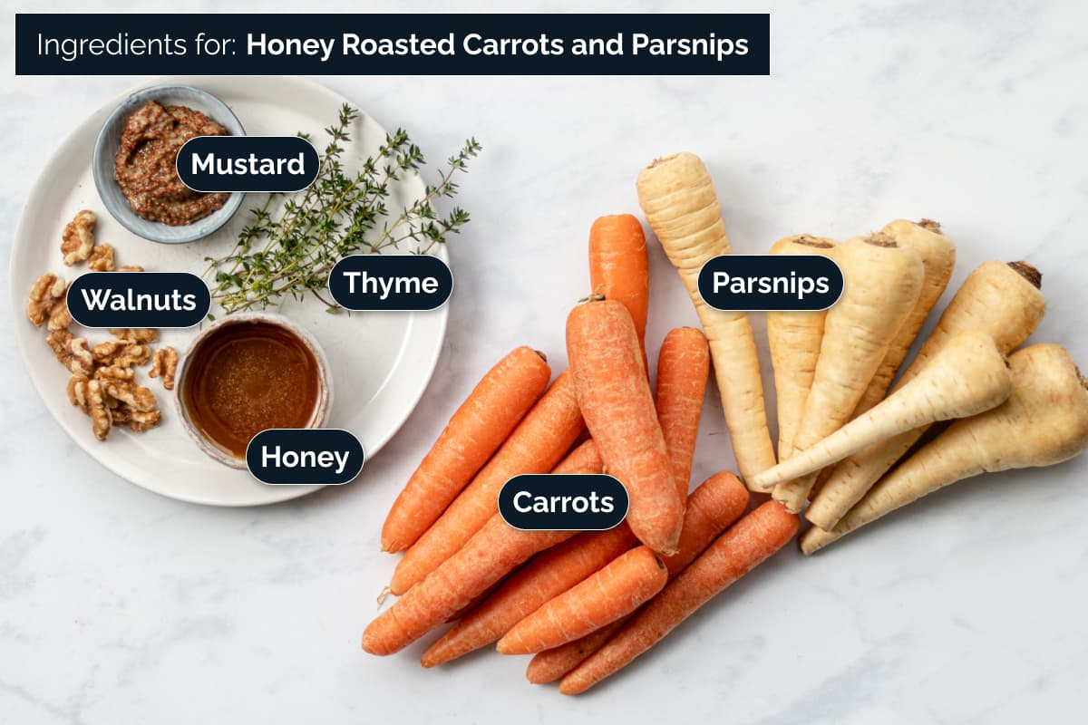 Ingredients for making Honey Roasted Carrots and Parsnips