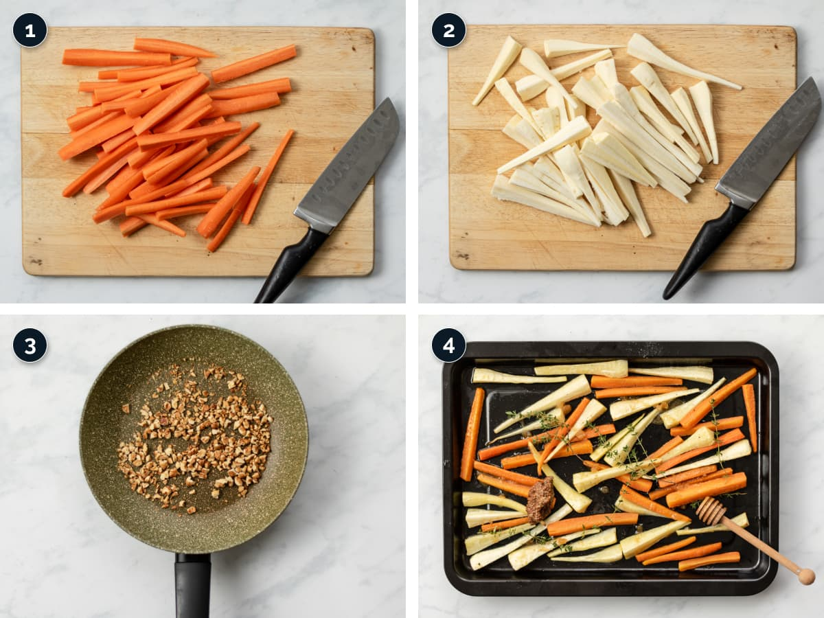 Step by step process for making Honey Roasted Carrots and Parsnips