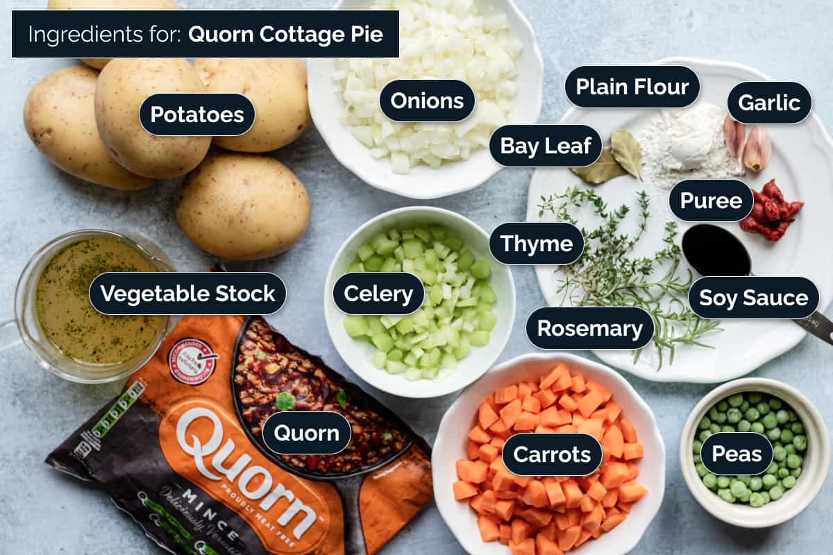 Ingredients for making Quorn Cottage Pie