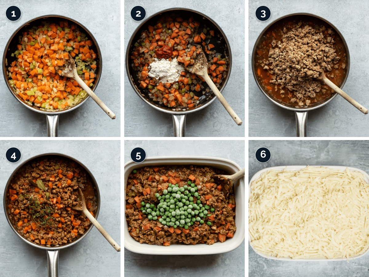 Step by step process for making Quorn Cottage Pie