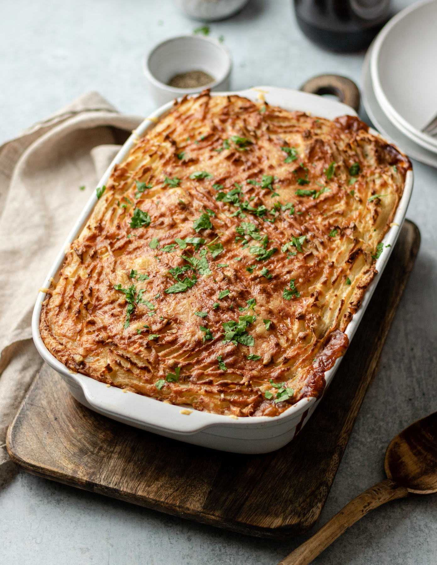 Quorn Cottage Pie with cheesy potato topping.