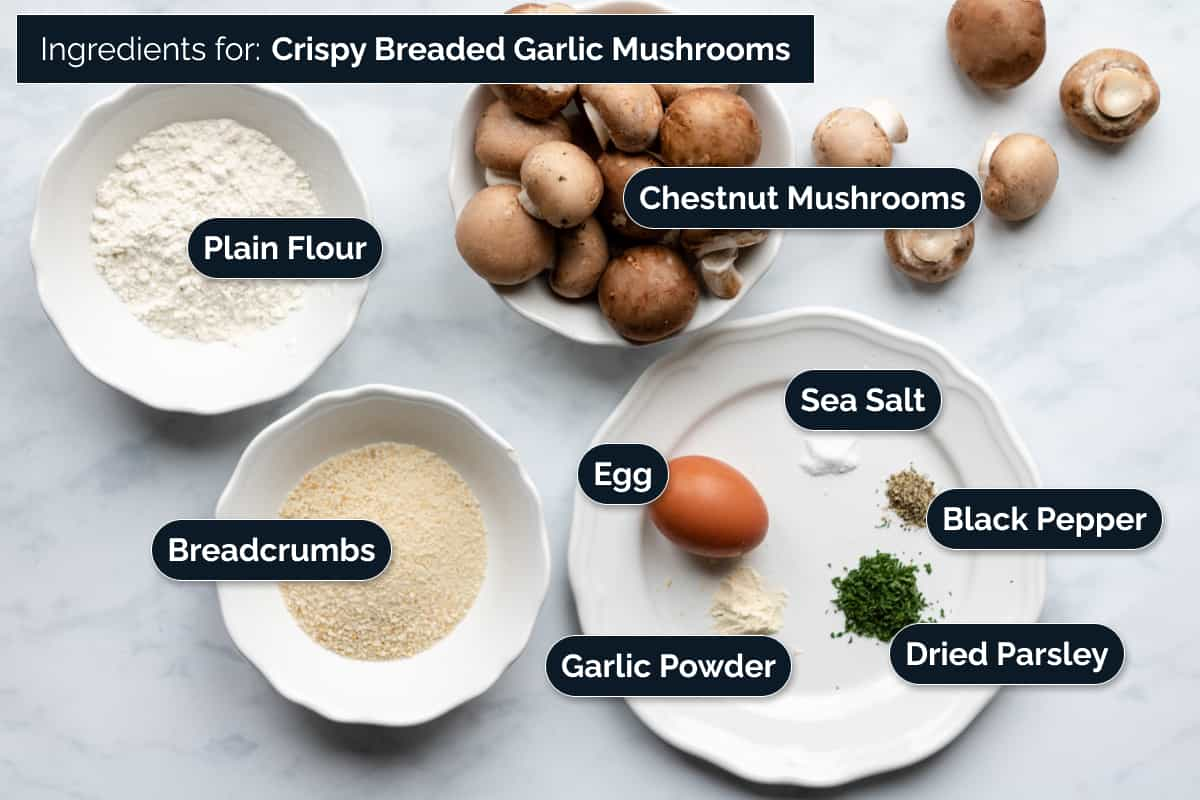 Ingredients for making the breaded mushrooms