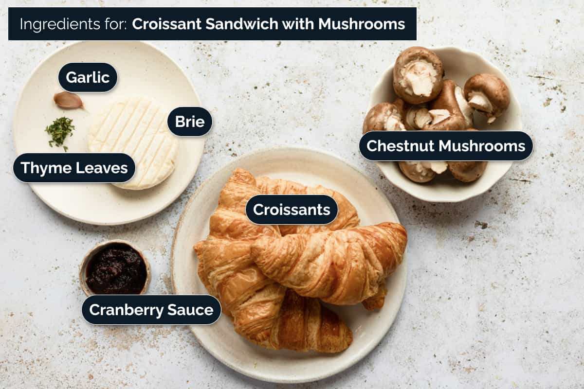 Ingredients for making a Croissant Sandwich with Mushrooms and Brie