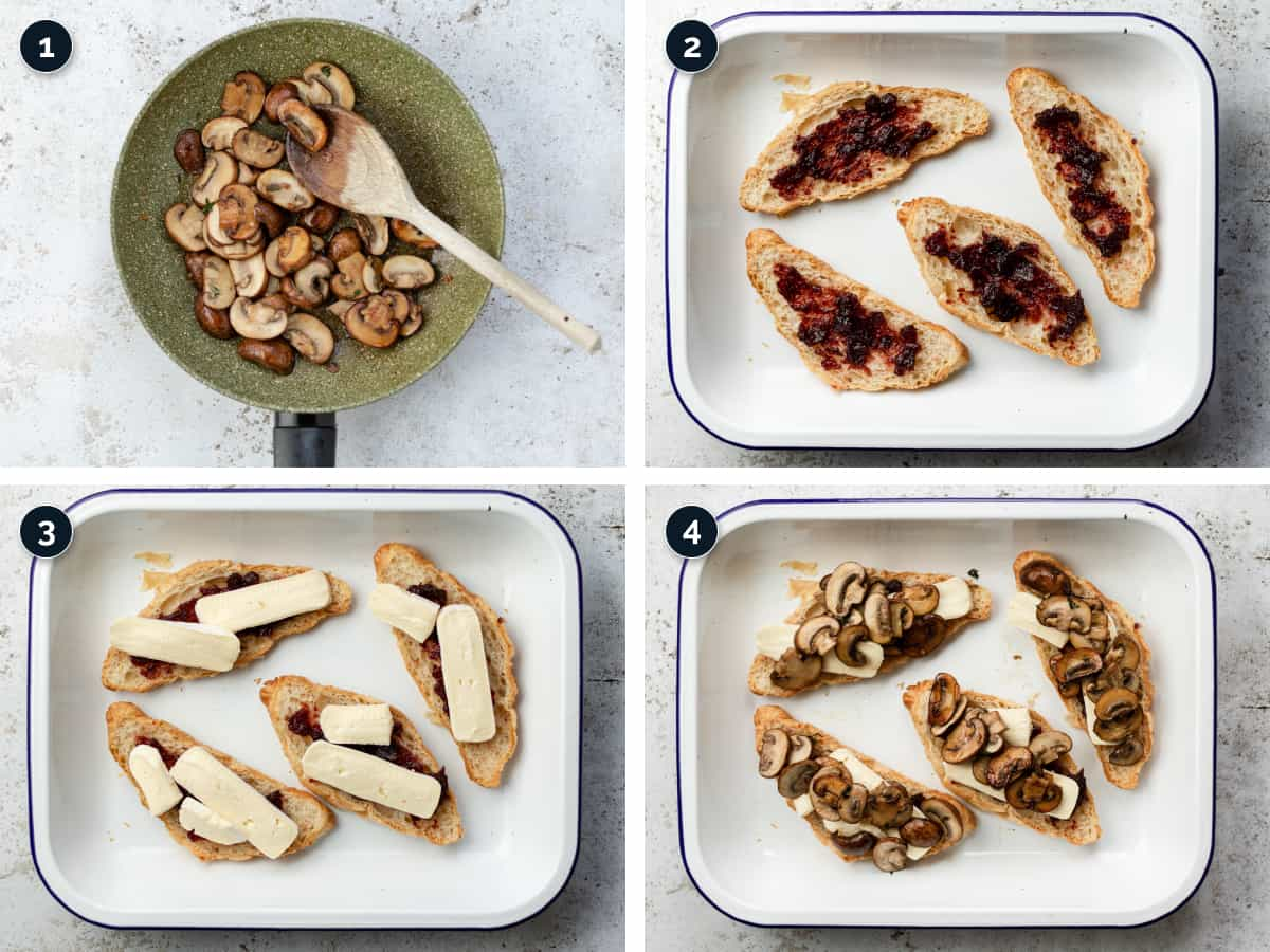 Step by step process for making a Croissant Sandwich with Mushrooms