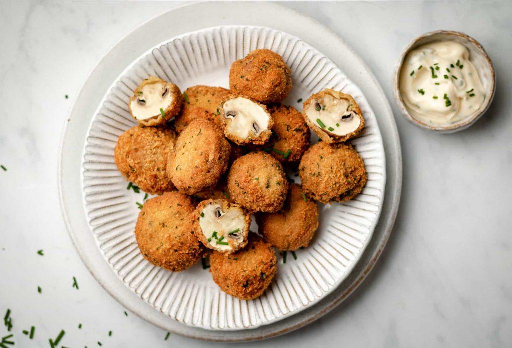 Garlic mushrooms on a plate