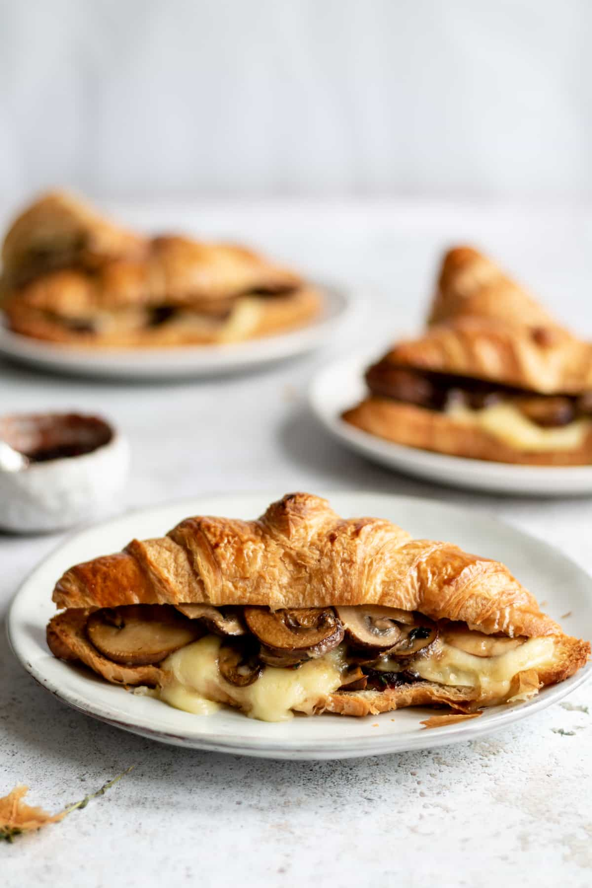 Cheese croissant on plates