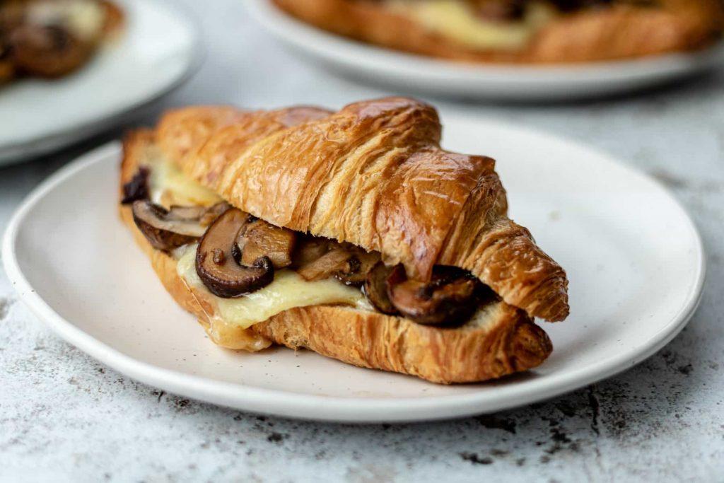 Croissant sandwich on a plate