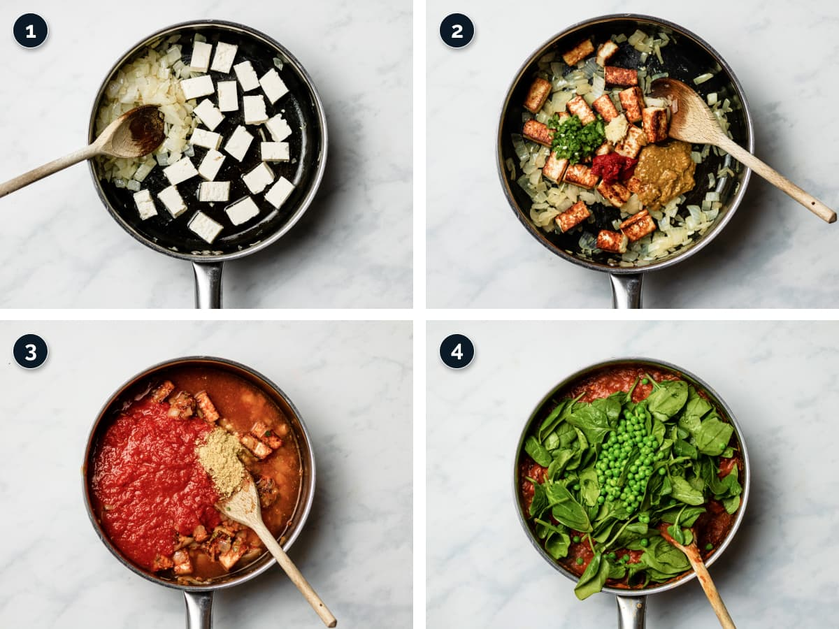 Step by step process for making the curry