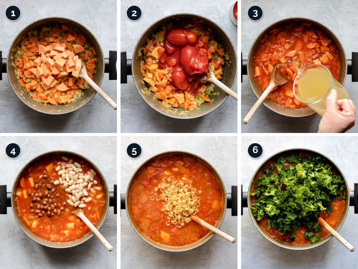 Step by step process for making Minestrone Soup