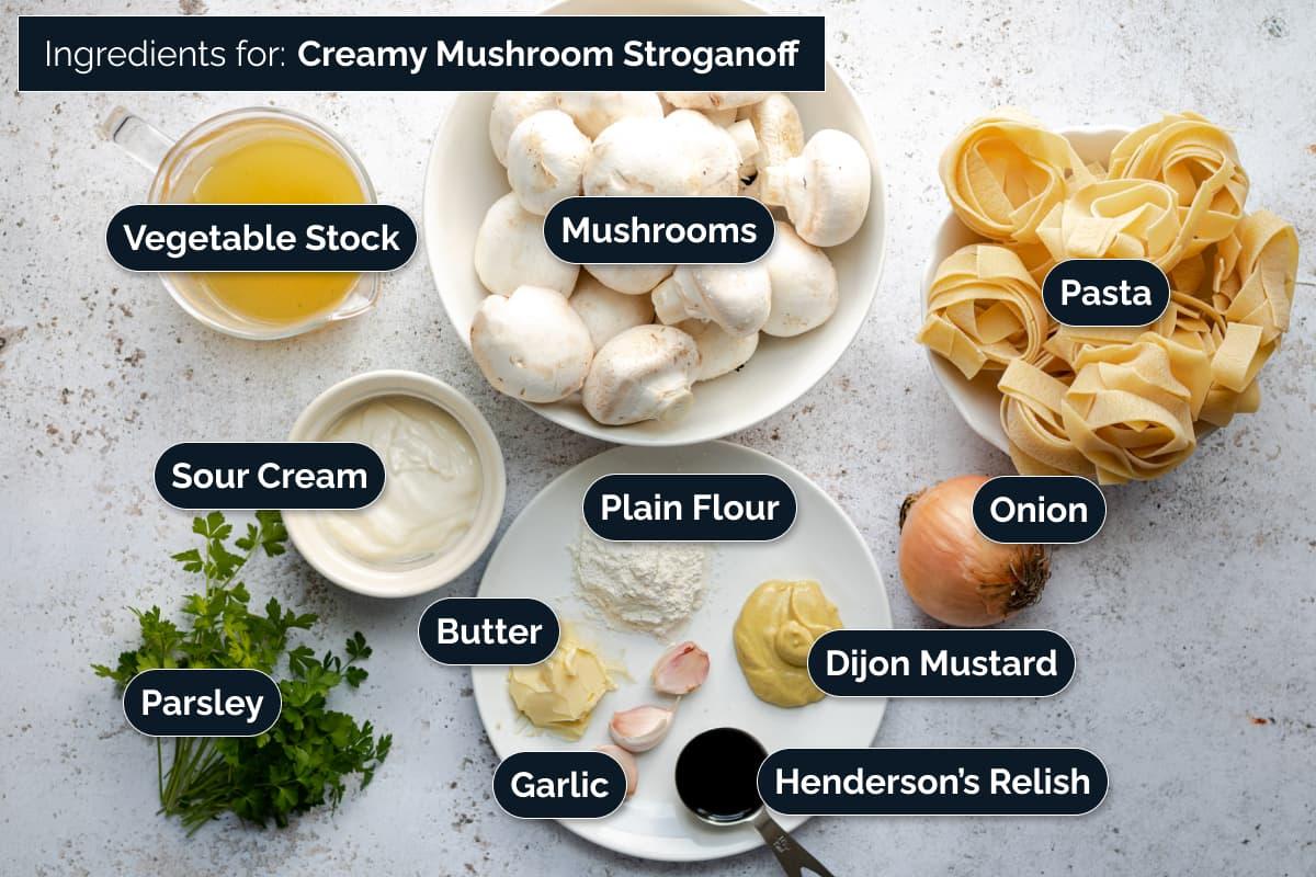 Ingredients for making Mushroom Stroganoff