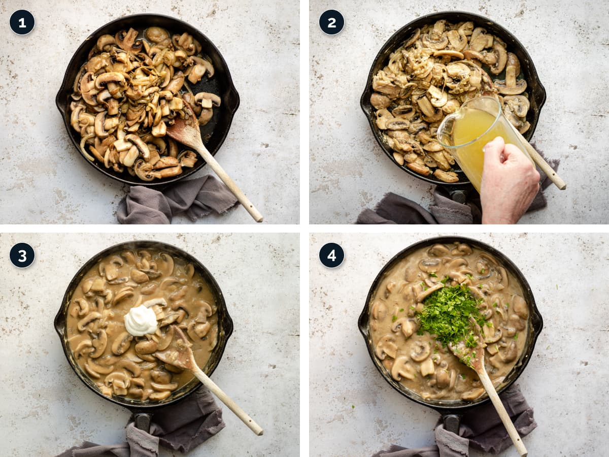 Step by step process for making Mushroom Stroganoff