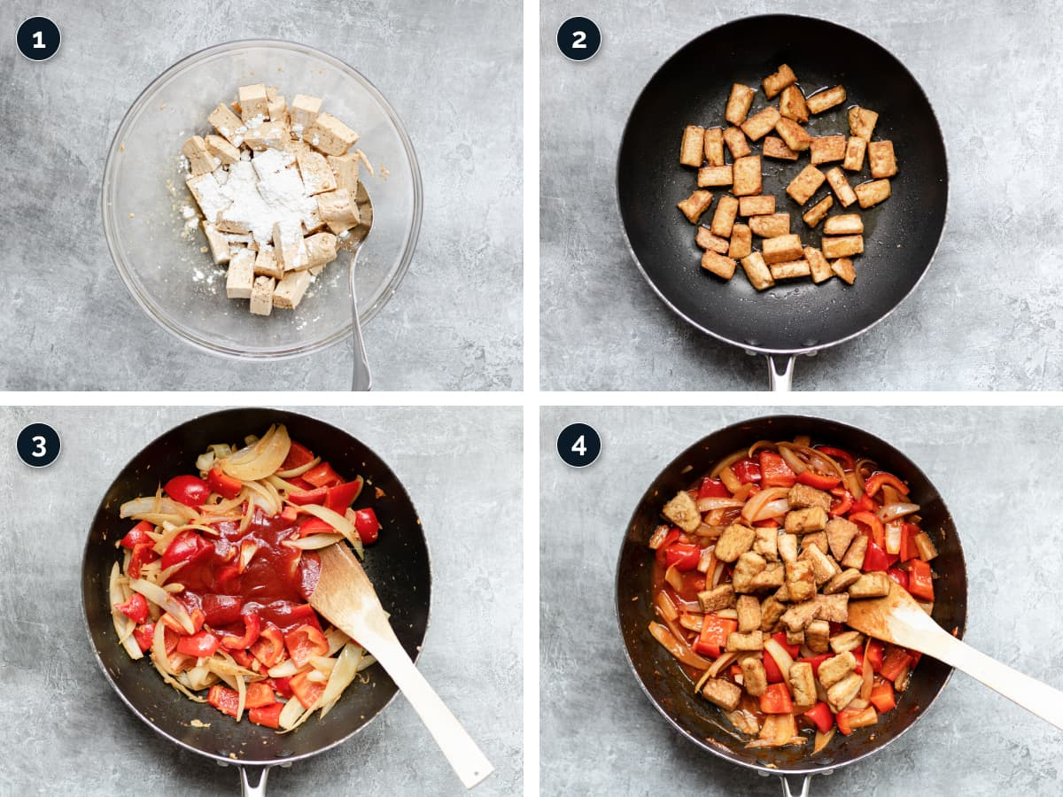Step by step process for making Sweet and Sour Tofu