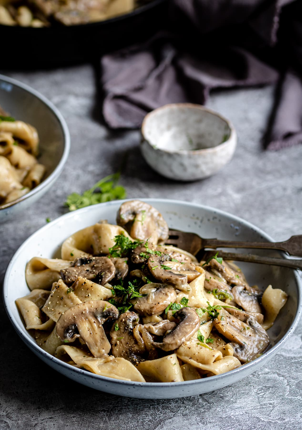 Mushrooms and pasta in a creamy sauce and parsley garnish