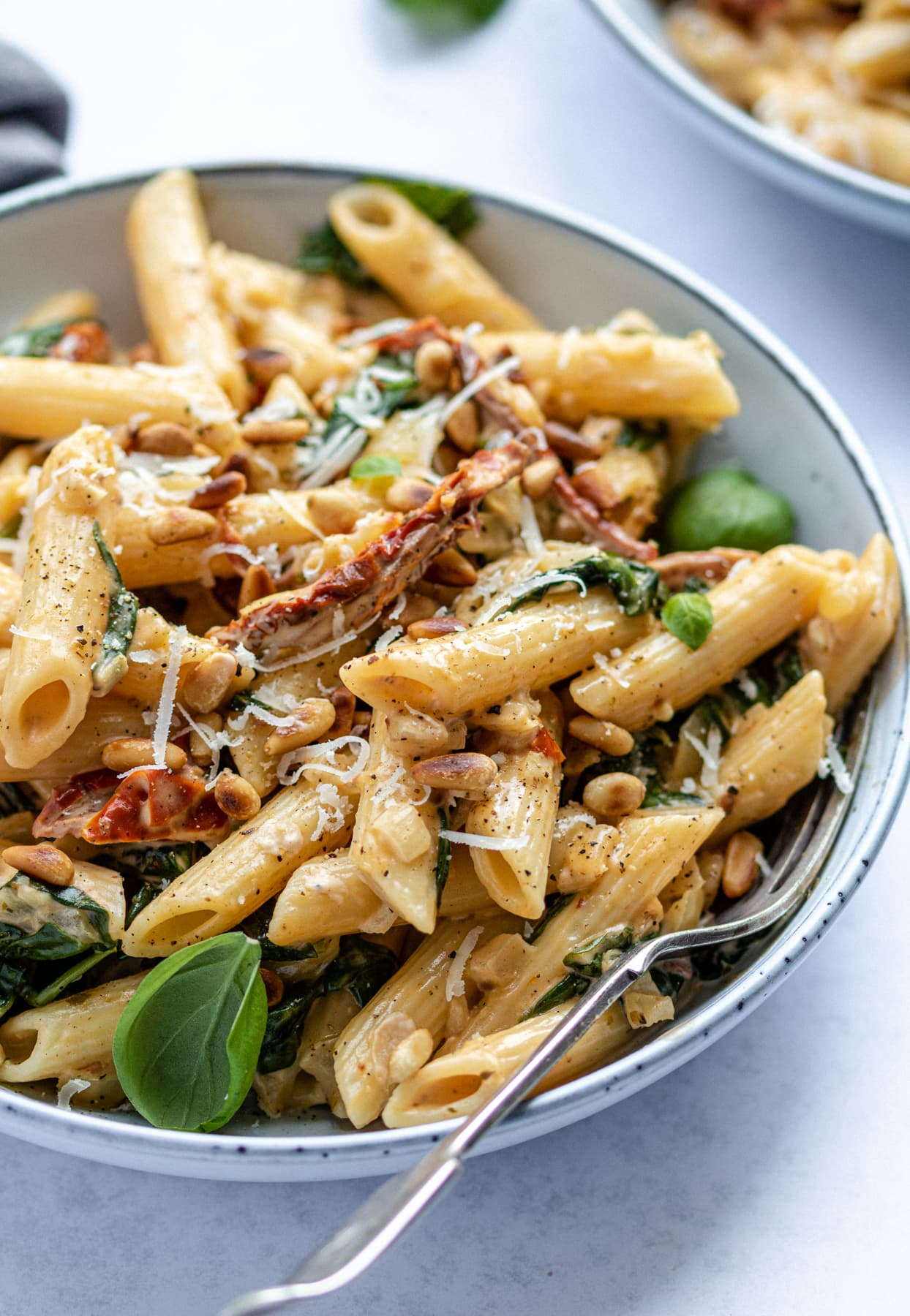 Pasta with tomato in a sauce with pasta and a basil garnish