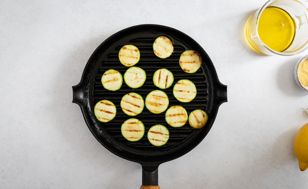 courgette in a griddle pan