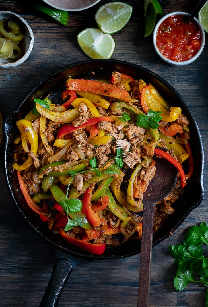Jackfruit with peppers and a coriander garnish